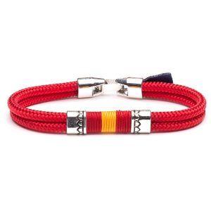Pulsera fabricada con cordón naútico y diseño bandera de España