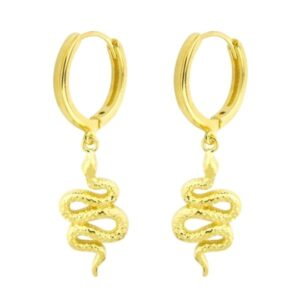 Pendientes de aro dorados con serpientes